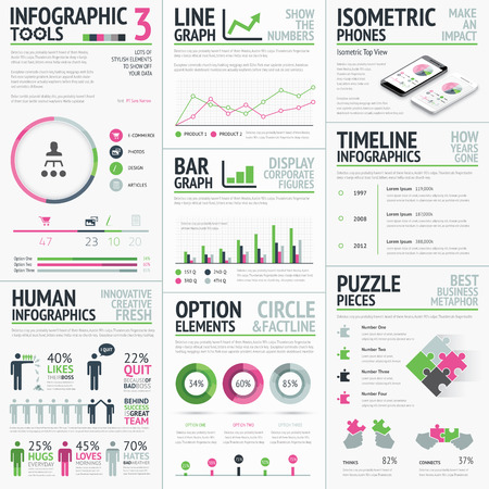 Infographic vector elements template  Big set of typography based creative objects easy to edit  Vector