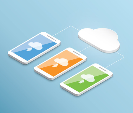 Cloud computing smartphone vector isometric concept Vector