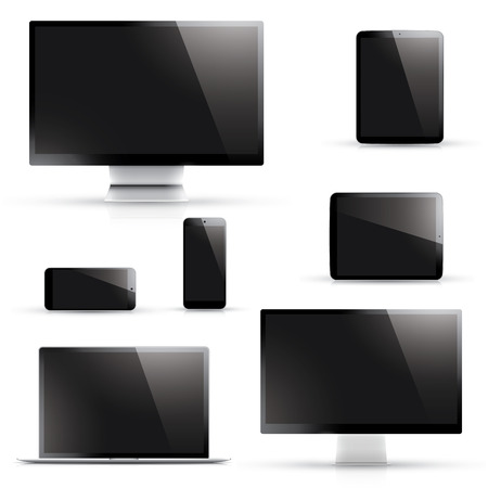 isolation: Laptop, tablet, smartphone, computer display with black screen isolated on white Illustration