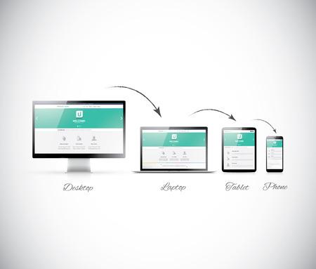 현대의 전자 장치에 응답하여 웹 디자인 개발 일러스트