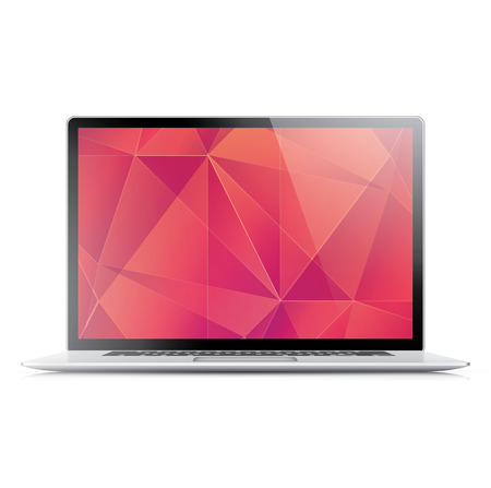 flexible business: Laptop with modern flaming geometric wallpaper isolated on white Illustration