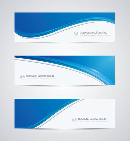 ビジネス背景を抽象的なバナーの美しい青い波