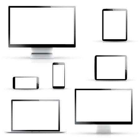 multi touch: Electronic devices, laptop, tablet, smartphone and computer displays isolated on white background