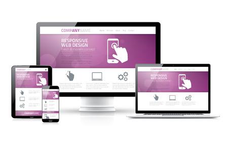 schaalbaar: Schaalbaar en flexibel marketing responsieve web design concept Stock Illustratie