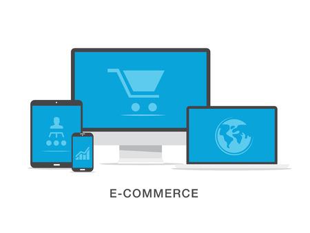 Flat e-commerce business illustration concept Vector