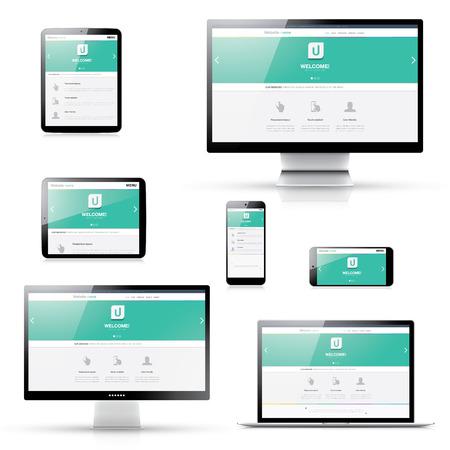 ordinateur bureau: Appartement web design réactif moderne dans les appareils électroniques isolés Illustration