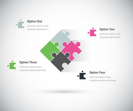 piezas de rompecabezas: Concepto de negocio infograf�a grupo del pedazo del rompecabezas del vector