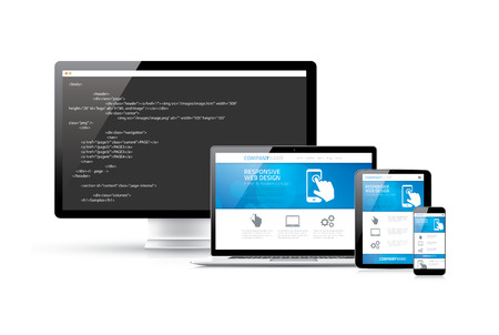 coding: Coding websites to modern responsive electronic devices vector concept Illustration