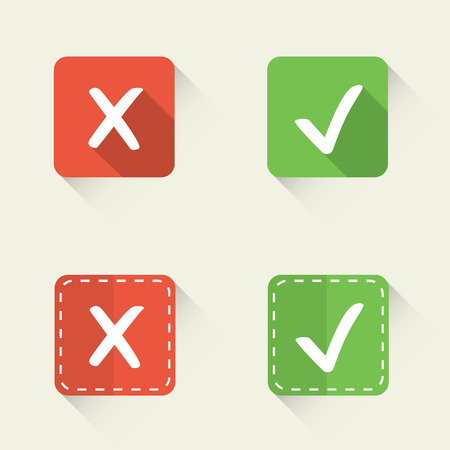 check in: Right and wrong, yes and no vector check marks in flat style Illustration