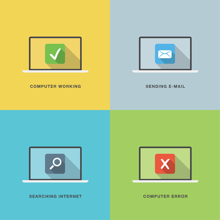 Computer actions in flat vector style laptop with colorful scenes Vector