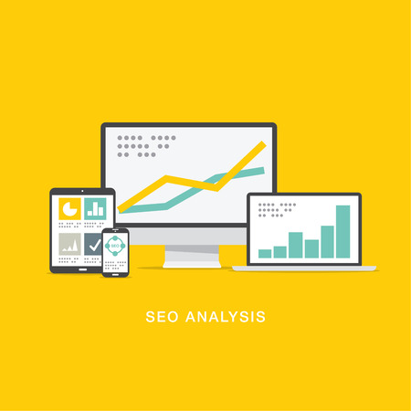 SEO search engine optimization analysis in flat computer icons