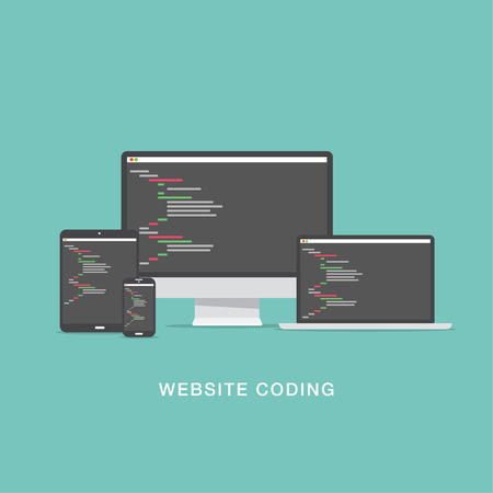 Flat website coding development vector illustration Vector