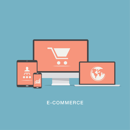 electronic store: Flat e-commerce vector icons set concept