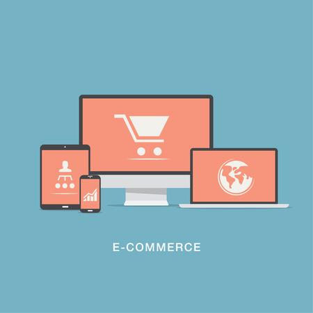Flat e-commerce vector icons set concept