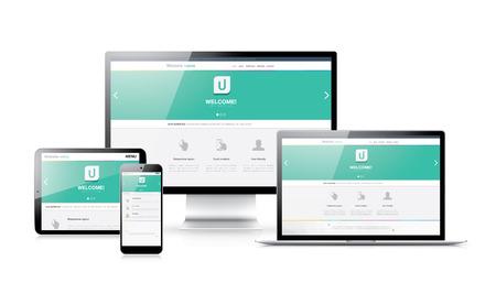電子デバイスでフラットな近代的なレスポンシブ web デザイン