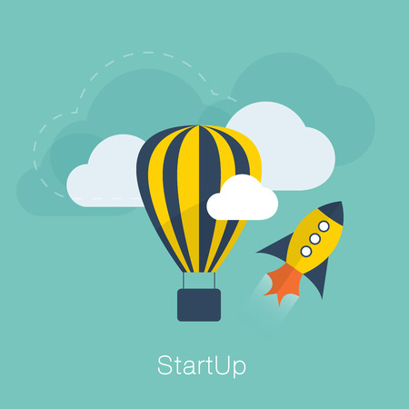 New project startup vector concept with flat cool colors and design Illustration