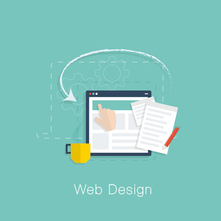 Web design development project vector concept with flat cool colors