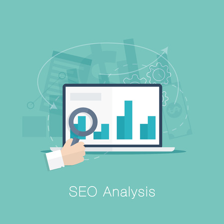 optimize: SEO analysis process vector concept with cool flat colors  Illustration