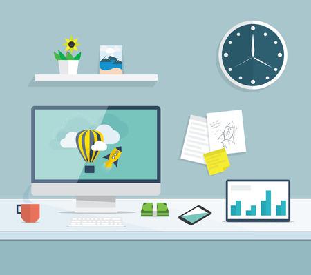 oficina: Escritorio plana de Internet y el desarrollo del diseño gráfico de la oficina