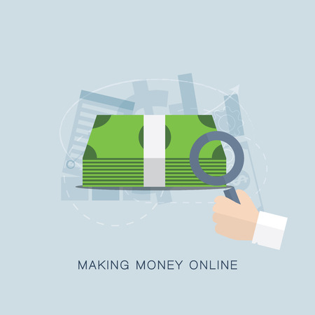 money online: Making money online flat vector concept