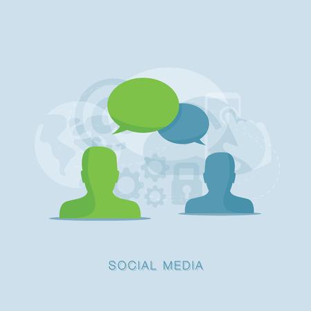 Flat social media conversation vector illustration concept Illustration