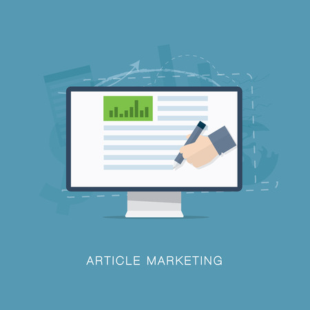 an article: Flat internet article and newsletter marketing vector