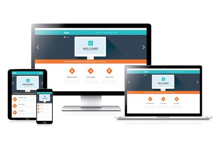 plantilla de sitio web: Dise�o web Flat responder plenamente sitio web en los ordenadores modernos del vector