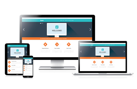 Flat fully responsive website web design in modern vector computers Çizim