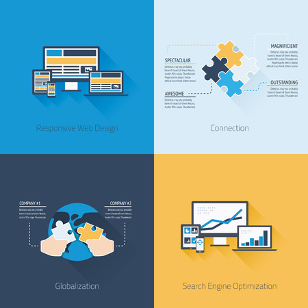 Four flat web design and business vector concepts Vector