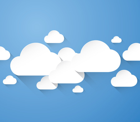 Abstract flat white clouds with long shadows in blue background Vector