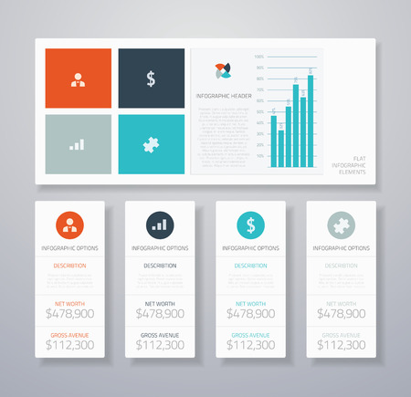 widget: Flat infographic ui vector elements Illustration