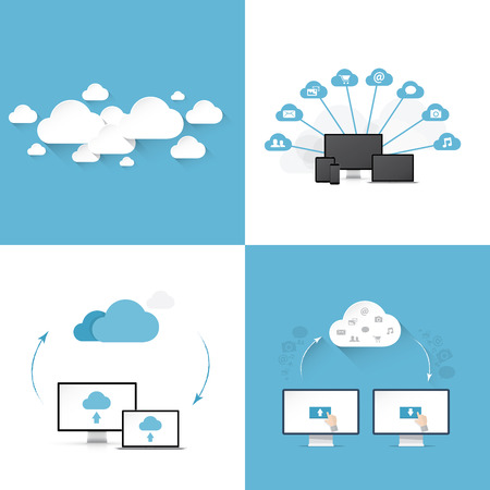 clouding: Flat cloud computing vector illustration templates set of four different styles