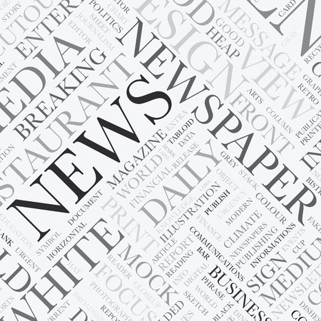 newspaper articles: News word tag cloud vector texture background Illustration