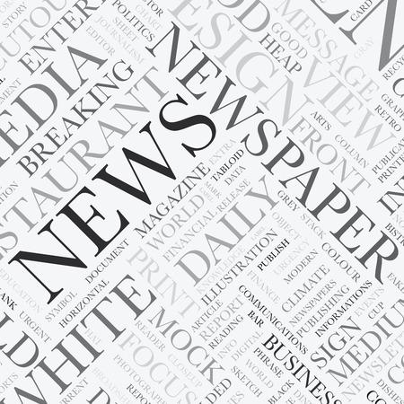 periódicos: Noticias de la palabra nube de etiquetas vector textura de fondo