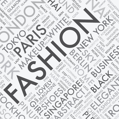 Fashion word tag cloud typography texture