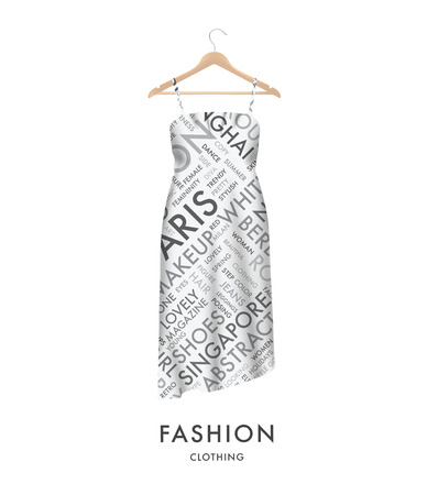 Woman fashion dress with fashionable text typography Easy to edit  Vector