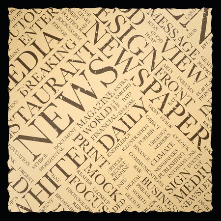 oude krant: Oude vintage krant vector achtergrond textuur word cloud