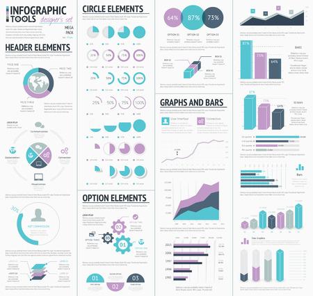 bar graph: Huge infographic elements designers set