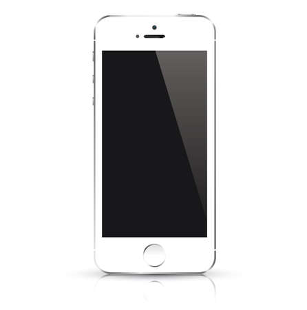 cellular telephone: Modern white smart phone isolated  Vector illustration