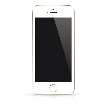 touch screen phone: Modern white mobile phone isolated  Vector illustration  Illustration