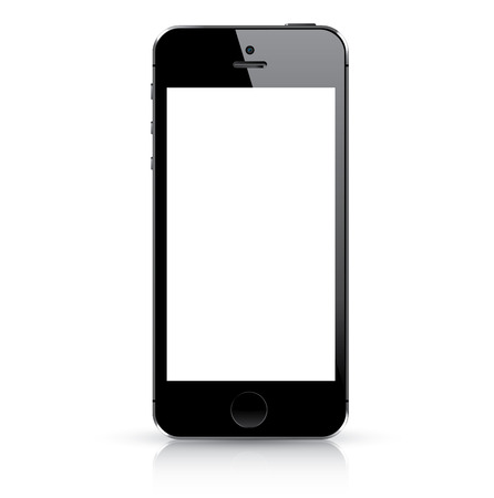 mobile phone icon: Modern black smart phone isolated  Vector illustration
