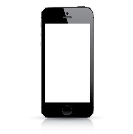 smart: Moderne zwarte slimme telefoon geïsoleerd Vector illustratie