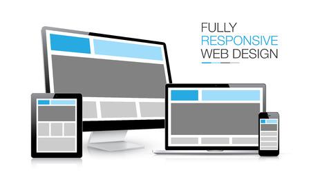 완전 반응 웹 디자인 전자 장치의 그림