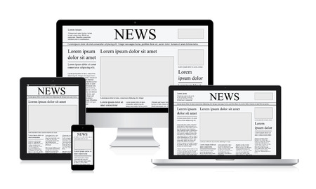 Online news vector illustration computer tablet newspaper Vector