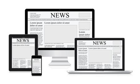 online news: Online news vector illustration computer tablet newspaper