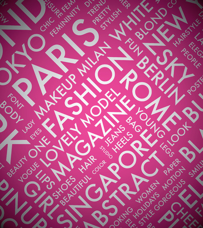 Pink fashion word tag cloud typography texture background vector Vector