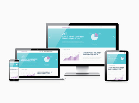 responsive design: Scalable responsive web design modern electronic vector devices