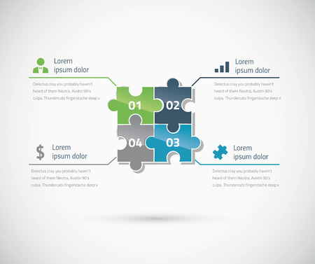 Green and blue puzzle piece infographics business concept vector Vector