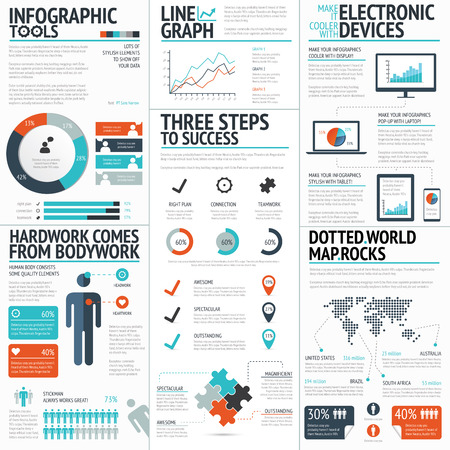 Big colorful set of infographic business elements in vector format Illustration