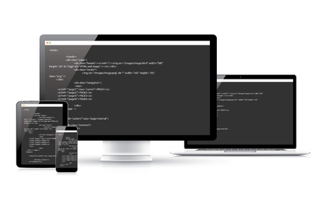 Website coding development vector concept in electronic devices Illustration